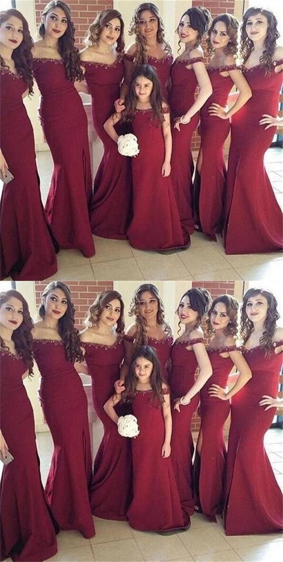5c99e038e3f Elegant Burgundy V Neck Off Shoulder Side Split Mermaid Satin Bridesmaid  Dresses