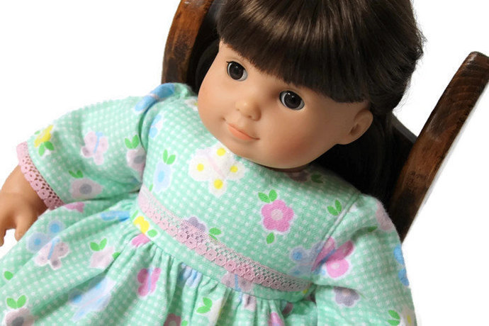 Flowered Doll Nightgown Flannel Nightie Pajamas Bitty Twin 14 to 16 in Baby Doll