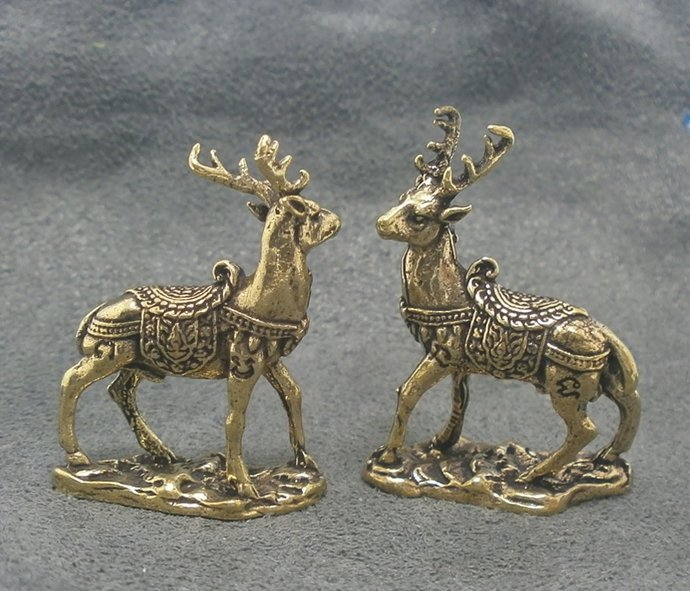 magic duo deer Thai mini brass amulet miniature good luck love attraction wealth