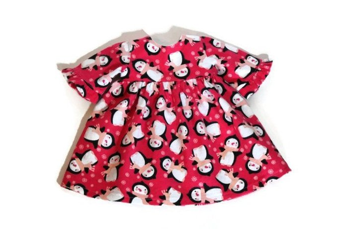 Doll Nightie Bright Pink Penguins Black White Flannel Christmas Pajamas