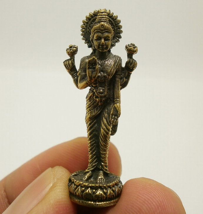 Maa Laxmi Lakshmi devi hindu goddess mini brass amulet blessed for rich wealth