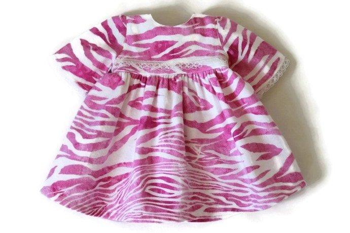 Pink & White Doll Nightie Zebra Stripes Print Flannel Pajamas Nightgown Lace