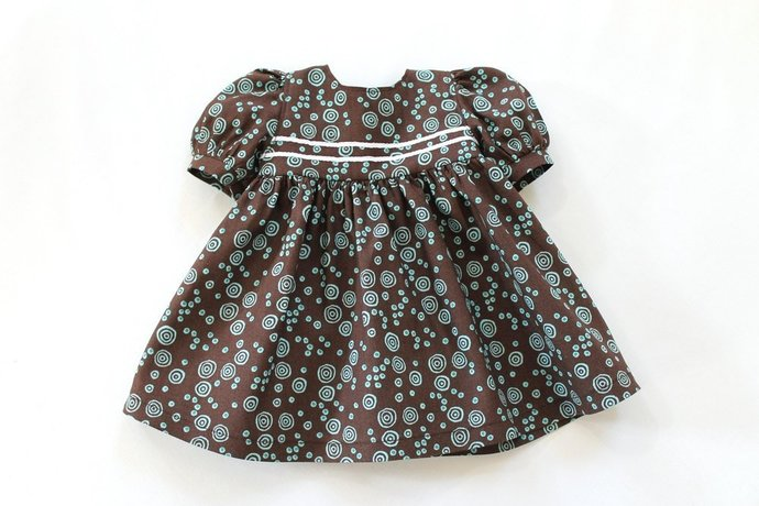 Baby Doll Dress Chocolate Brown Aqua Turquoise Blue Birthday Party Summer Spring
