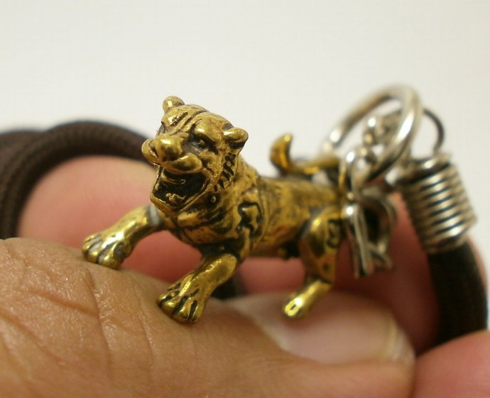 thai yantra panther magic tiger brass pendant amulet with 24 inches necklace