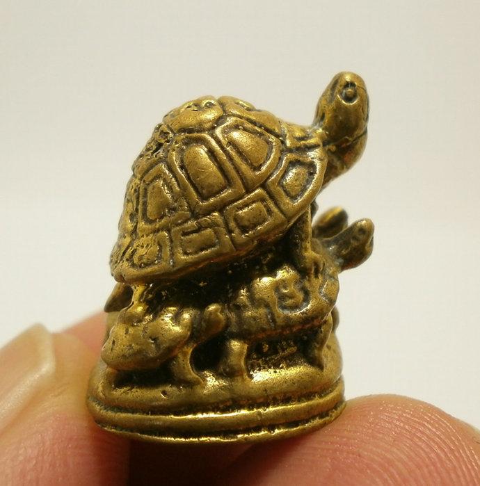 Magic Turtles lp Lew Thai mini brass real amulet miracle miniature Thailand