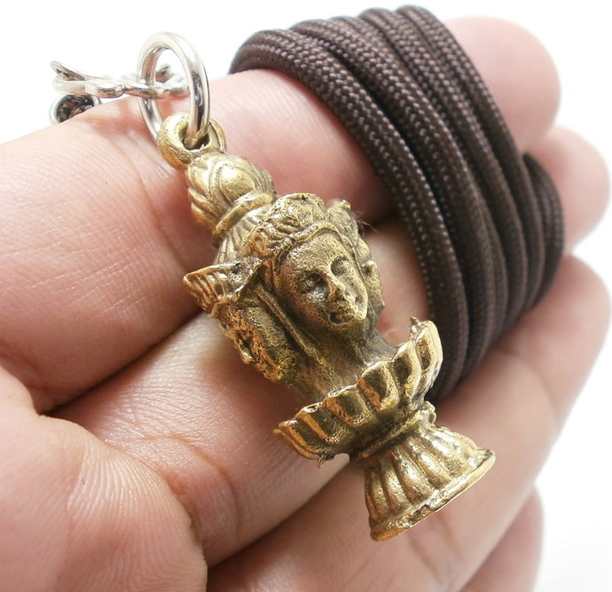 lord Brahma Trimurti hindu Hinduism god deity brass pendant blessed amulet rope