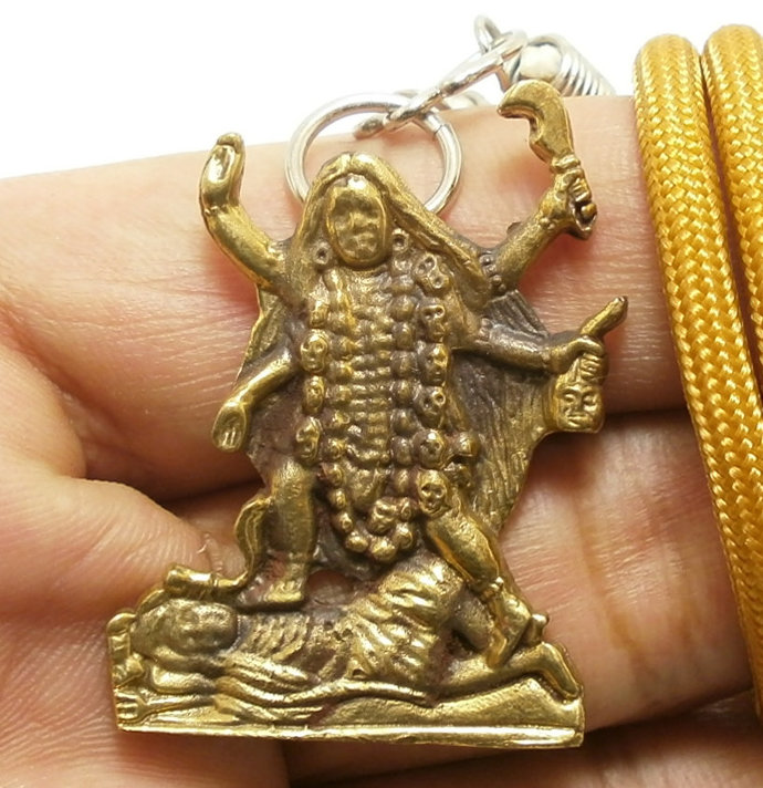 Kali Kalika parvati maa durga uma devi hindu goddess amulet brass pendant rope