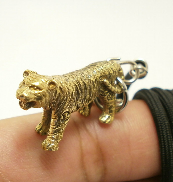 magic tiger brass pendant Thai amulet with 24 inches necklace blessed for life
