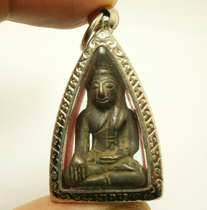 Laos Buddha super rare antique Chiangroong amulet pendant blessed for wealth