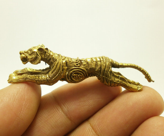Crouching Tiger Thai mini brass talisman real amulet blessed for life protection