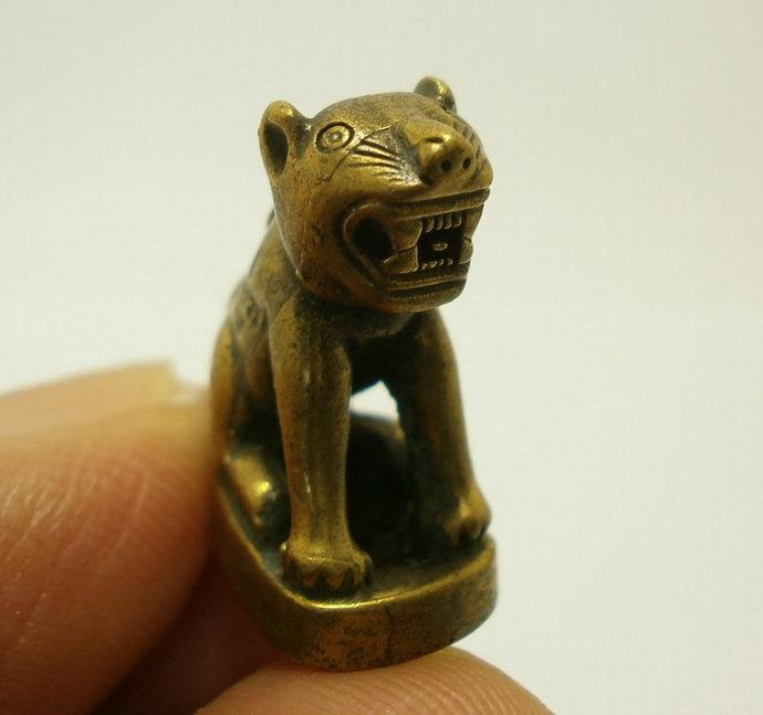 magic yant Tiny Tiger of LP Mon Thai mini brass talisman real amulet life