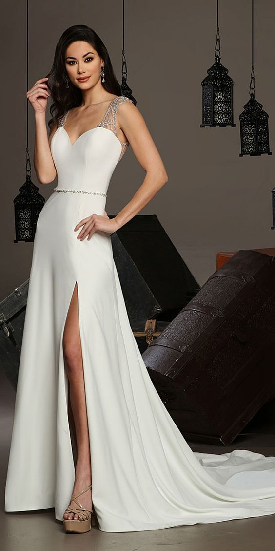 A Line Prom Dress,White Prom Dress,Custom Made,Party Gown,Cheap Evening dress