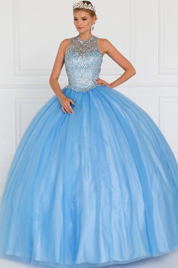 Blue Tulle Ballgown with Beaded Back Out Bodice,Custom Made,Party Gown,Cheap