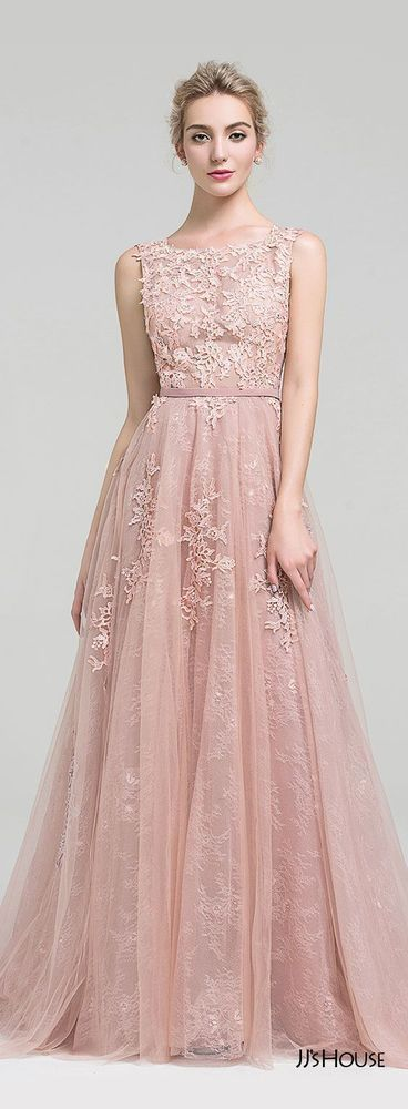 pink charming evening dress,appliques long prom dress, lace party dress