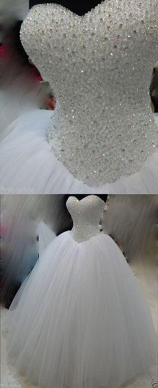 Wedding Dresses New White/Ivory Beadding Wedding Dress Bridal Gown