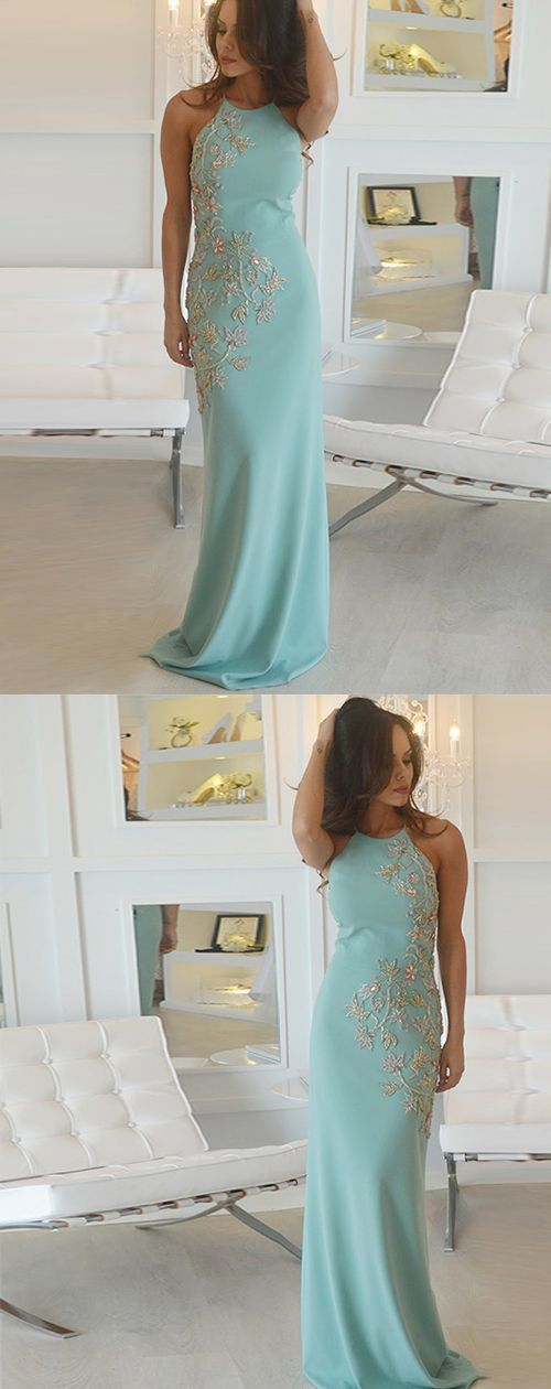 Round Neck Green Mermaid Evening Dress, Sexy Long Prom Dress with Appliques