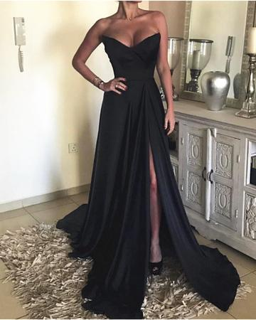 Split Slit Mermaid Evening Dress, Sexy Sleeveless Long Prom Dress