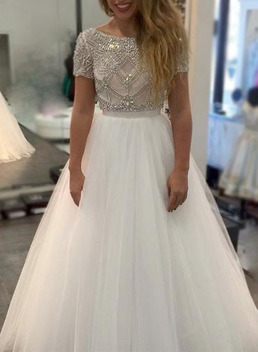 Short Sleeve Crystal Beaded Tulle Prom Dress, Formal Long Evening Dress