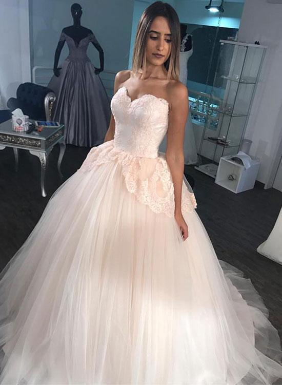 Strapless Tulle Appliques Ball Gown Wedding Dress, Elegant Bridal Gown