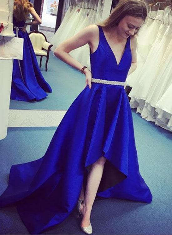 Royal Blue Satin Prom Dress, Sexy Prom Dresses, High Low Prom Gowns