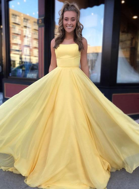 Yellow Party Dress Sexy,A Line Prom Dress Yellow,a line prom dress,prom dress yellow,a line prom dresses,