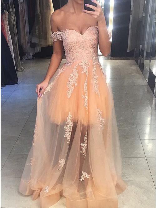Off Shoulder Appliques Tulle Prom Dress, Sexy Evening Party Dress, Long