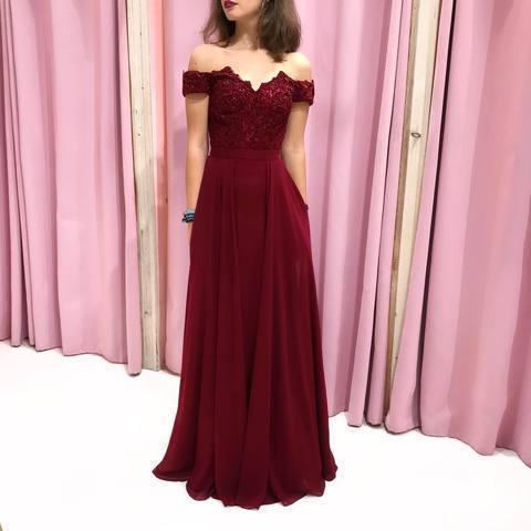 Wine Red Appliques Off Shoulder Long Prom Dress, Sexy Evening Dress, Sweet Party