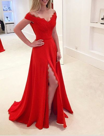 Off Shoulder Red A Line Prom Dress, Sexy Split Slit Party Dress, Long Homecoming