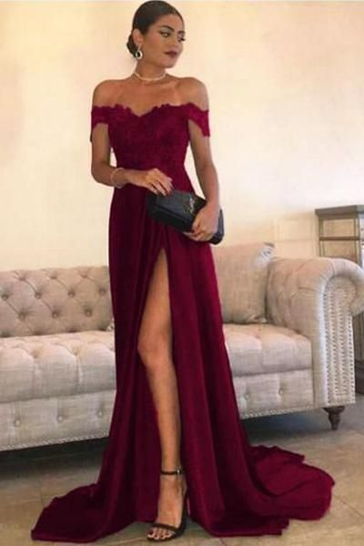 060baa5c47 Custom Made Leg Slit Off Shoulder Long Prom Dress with Appliques