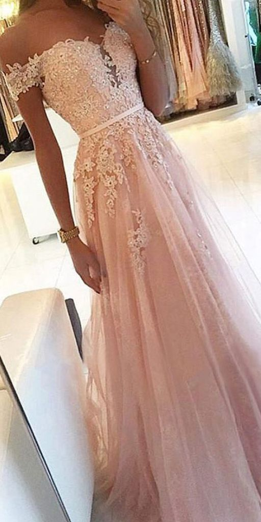 Gorgeous Off Shoulder Pink Tulle Homecoming Dress, Elegant Long Prom Dress with