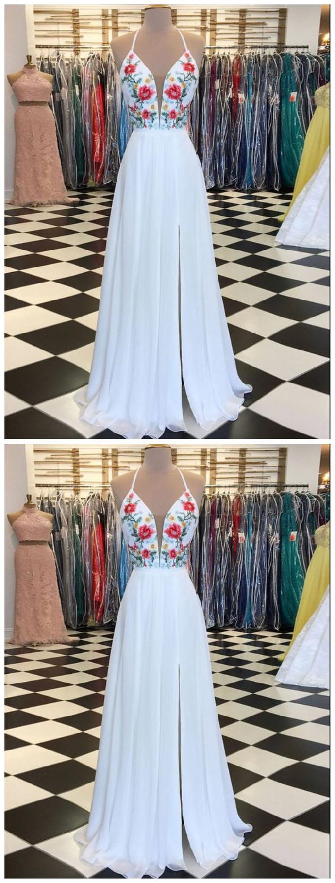 WHITE PROM DRESS A-LINE FLORAL EMBROIDERY SPAGHETTI STRAPS ELEGANT PROM DRESSES