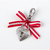 Heart Lock Pet Collar Charm with Red and White Stripe Ribbon, Zipper Pull, Cat