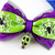 Halloween Cat Bow Tie with Skull Charm, Lime Green, Purple, Spiderweb Print,