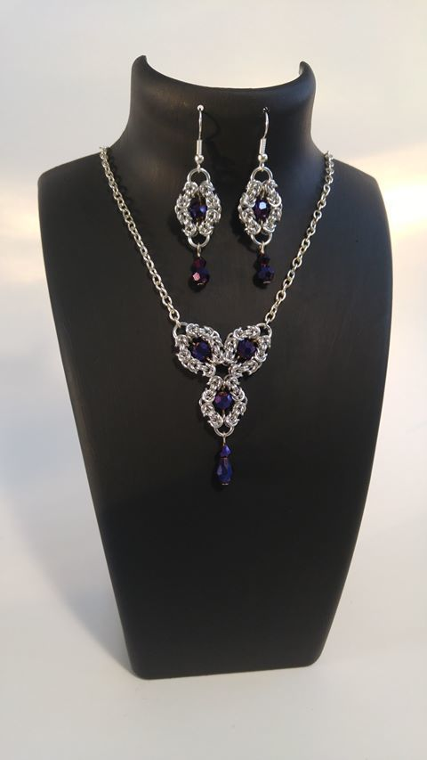 Romanov chainmaille necklace and earrings, boho chic, elegant jewelry