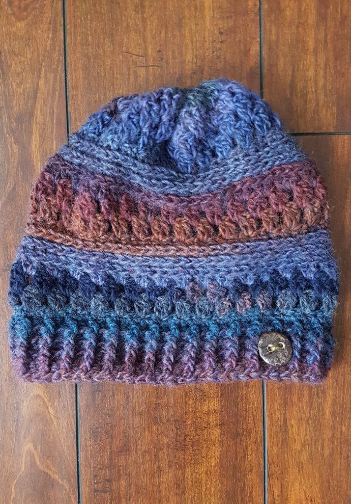 Wool blend Tempest Beanie Slouchy with custom ceramic button