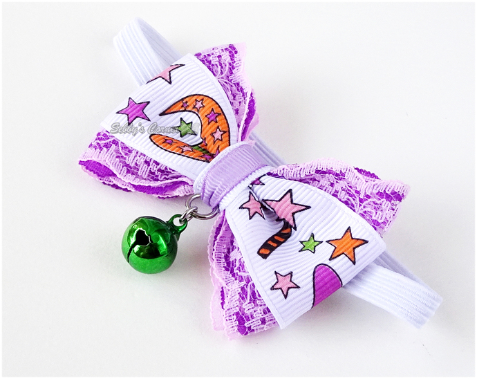 Witch in Training Cute Bow Tie for Cats with Elastic Collar, Pet Accessories,