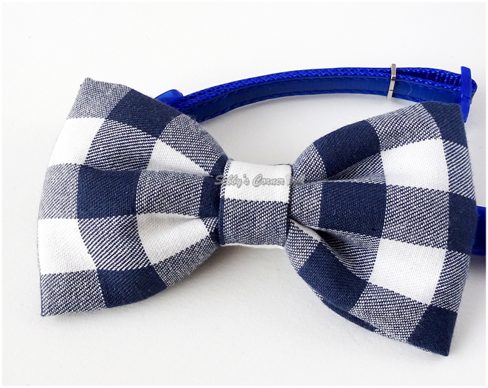 Gingham Bow Tie, Navy Blue, White, Cat Accessories, Pets, Removable