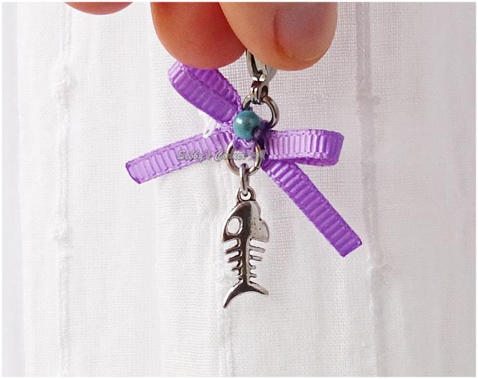 Kawaii Fishbone Charm with Purple Bow, Pet Collar Charms, Cat Accessories