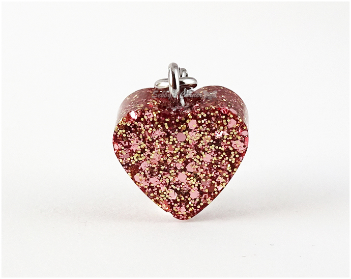 Copper and Rose Gold Heart Charm, Resin Charms, Pet Accessories, Zipper Pull