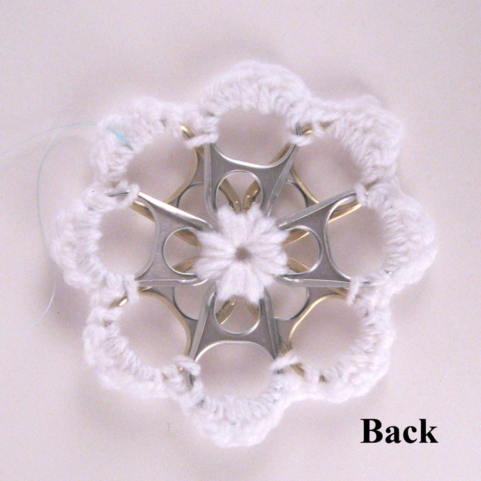 White Recycled Can Tab Christmas Snowflake Ornament