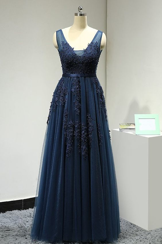 Navy Blue V-neckline Floor Length Prom Dress 2019, Junior Prom Dresses