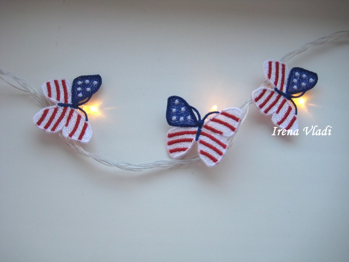 FSL butterfly lights 4th of July American Patriotic flag, Independence Day Free