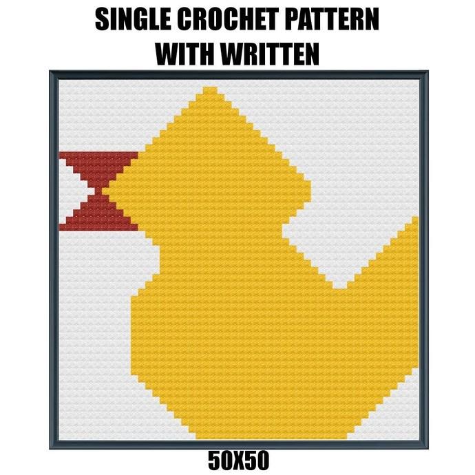 Duck Quilt Block Crochet Graph Pattern 50x50