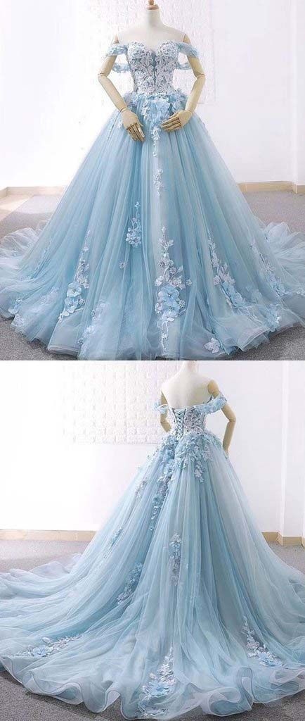 Blue Ball Gown Delicate Florals Prom Gown Long Tulle Prom Dress with Chapel