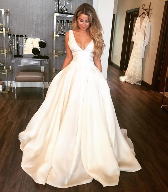 Simple V Neck A Line Wedding Dresses Satin Bridal Gowns Wedding Gowns