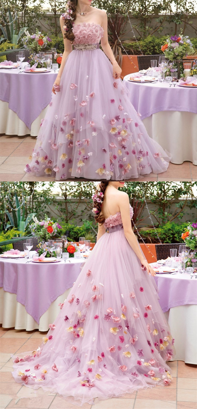 6974536e8 Gorgeous Romantic Pink Flowers Prom Dresses, Sexy Strapless Tulle Beaded  Layered