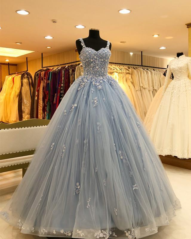 Gorgeous Beading Light Blue Ball Gown Prom By Sugerdress