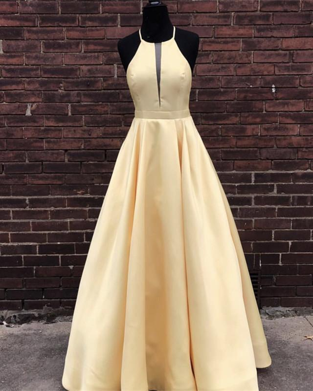 7a47687ca7f3 Elegant Halter Light Yellow Long Prom Dress by Sugerdress on Zibbet