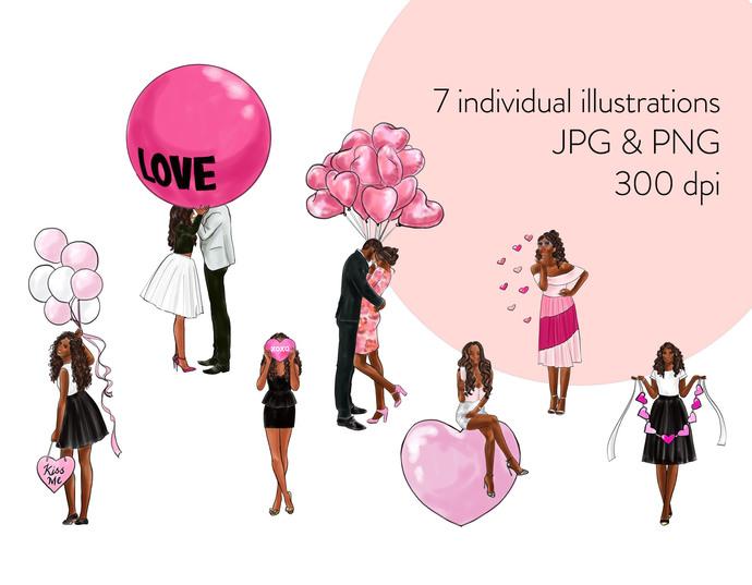 Watercolor fashion illustration clipart -  Valentine Girls 4 - Dark Skin