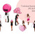 Watercolor fashion illustration clipart -  Valentine Girls 4 - Dark Skin